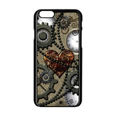 Steampunk With Clocks And Gears And Heart Apple Iphone 6 Black Enamel Case