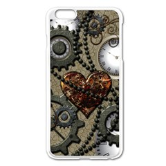 Steampunk With Clocks And Gears And Heart Apple iPhone 6 Plus Enamel White Case