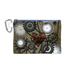 Steampunk With Clocks And Gears And Heart Canvas Cosmetic Bag (M)