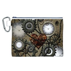 Steampunk With Clocks And Gears And Heart Canvas Cosmetic Bag (L)