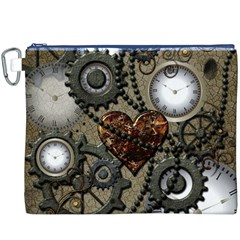 Steampunk With Clocks And Gears And Heart Canvas Cosmetic Bag (XXXL)