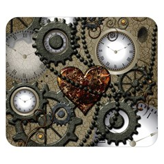 Steampunk With Clocks And Gears And Heart Double Sided Flano Blanket (Small)
