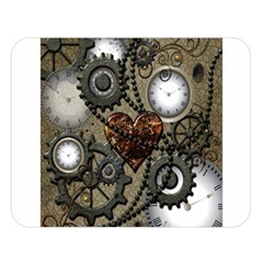 Steampunk With Clocks And Gears And Heart Double Sided Flano Blanket (large)