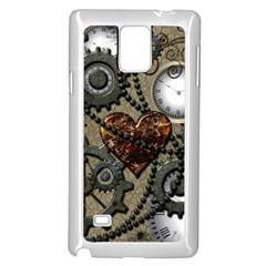 Steampunk With Clocks And Gears And Heart Samsung Galaxy Note 4 Case (white)