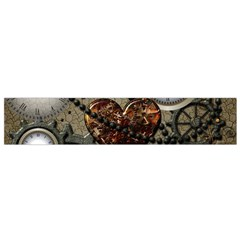 Steampunk With Clocks And Gears And Heart Flano Scarf (Small)