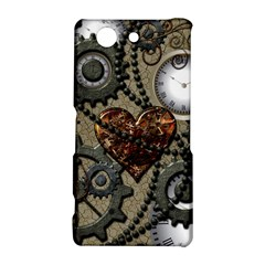 Steampunk With Clocks And Gears And Heart Sony Xperia Z3 Compact