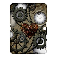 Steampunk With Clocks And Gears And Heart Samsung Galaxy Tab 4 (10.1 ) Hardshell Case