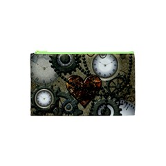 Steampunk With Clocks And Gears And Heart Cosmetic Bag (XS)