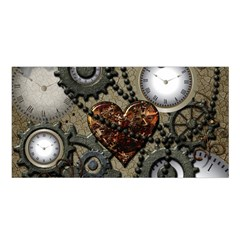 Steampunk With Clocks And Gears And Heart Satin Shawl