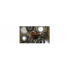 Steampunk With Clocks And Gears And Heart Satin Scarf (Oblong)