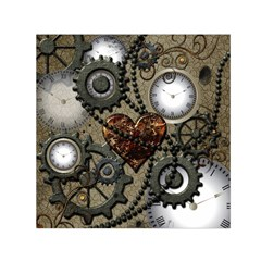 Steampunk With Clocks And Gears And Heart Small Satin Scarf (Square)