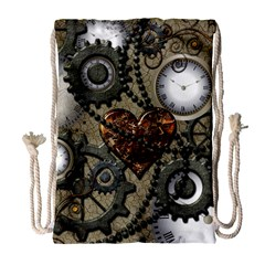 Steampunk With Clocks And Gears And Heart Drawstring Bag (large)