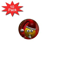 Funny Christmas Smiley 1  Mini Buttons (10 pack)