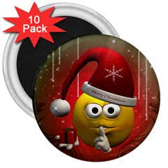 Funny Christmas Smiley 3  Magnets (10 pack)