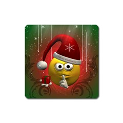 Funny Christmas Smiley Square Magnet