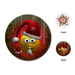 Funny Christmas Smiley Playing Cards (round)