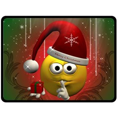 Funny Christmas Smiley Fleece Blanket (Large)