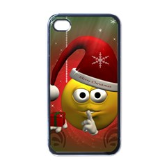 Funny Christmas Smiley Apple iPhone 4 Case (Black)