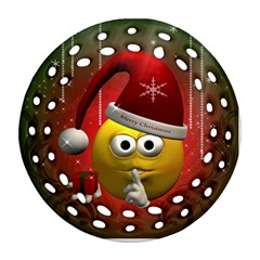 Funny Christmas Smiley Round Filigree Ornament (2Side)
