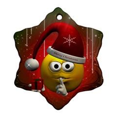 Funny Christmas Smiley Snowflake Ornament (2-Side)