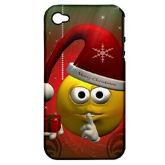 Funny Christmas Smiley Apple iPhone 4/4S Hardshell Case (PC+Silicone)