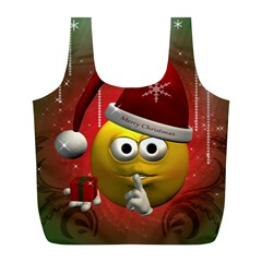 Funny Christmas Smiley Full Print Recycle Bags (L)