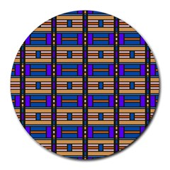 Rectangles and stripes pattern Round Mousepad