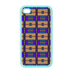 Rectangles and stripes pattern Apple iPhone 4 Case (Color)