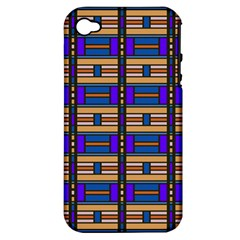 Rectangles and stripes pattern Apple iPhone 4/4S Hardshell Case (PC+Silicone)