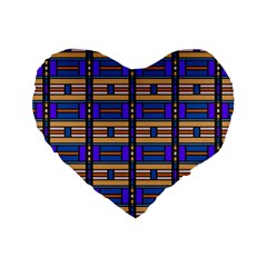 Rectangles and stripes pattern Standard 16  Premium Heart Shape Cushion