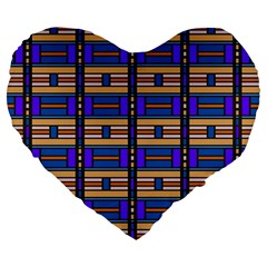 Rectangles and stripes pattern Large 19  Premium Heart Shape Cushion