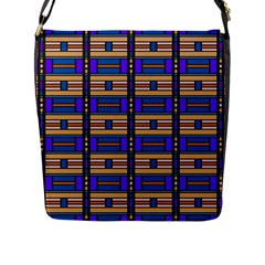 Rectangles and stripes pattern Flap Closure Messenger Bag (L)