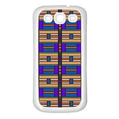 Rectangles and stripes pattern Samsung Galaxy S3 Back Case (White)