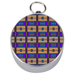Rectangles and stripes pattern Silver Compass