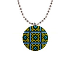 Rhombus In Squares Pattern 1  Button Necklace