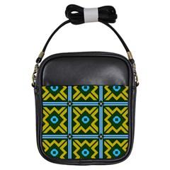 Rhombus in squares pattern Girls Sling Bag