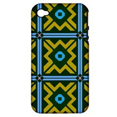 Rhombus in squares pattern Apple iPhone 4/4S Hardshell Case (PC+Silicone)