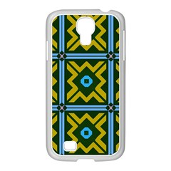 Rhombus in squares pattern Samsung GALAXY S4 I9500/ I9505 Case (White)