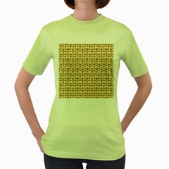 Olive And White Owl Pattern Women s Green T-Shirt