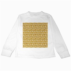 Olive And White Owl Pattern Kids Long Sleeve T-Shirts