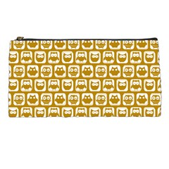 Olive And White Owl Pattern Pencil Cases