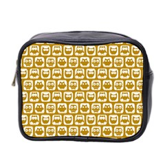 Olive And White Owl Pattern Mini Toiletries Bag 2-Side