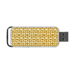 Olive And White Owl Pattern Portable USB Flash (One Side)
