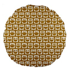 Olive And White Owl Pattern Large 18  Premium Round Cushions