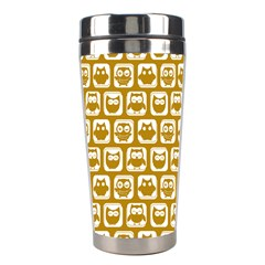Olive And White Owl Pattern Stainless Steel Travel Tumblers