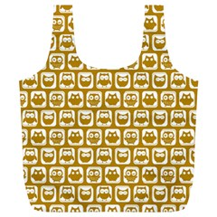 Olive And White Owl Pattern Full Print Recycle Bags (L)