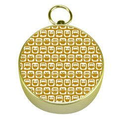 Olive And White Owl Pattern Gold Compasses