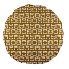 Olive And White Owl Pattern Large 18  Premium Flano Round Cushions