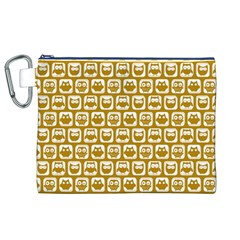 Olive And White Owl Pattern Canvas Cosmetic Bag (XL)