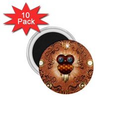 Steampunk, Funny Owl With Clicks And Gears 1 75  Magnets (10 Pack)